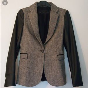 Zara Wool Grey Blazer with Faux Leather Sleeves